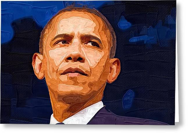 Barack Obama Digital Greeting Cards - Barack Obama Portrait Greeting Card by Victor Gladkiy