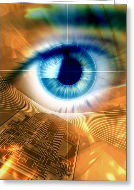 Printed Circuit Board Greeting Cards - Biometric Eye Scan Greeting Card by Pasieka