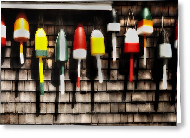 Coastal Maine Greeting Cards - 11 Buoys in a Row Greeting Card by Thomas Schoeller