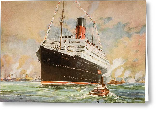 First-class Greeting Cards - Cunard Line Promotional Brochure For Greeting Card by Vintage Design Pics
