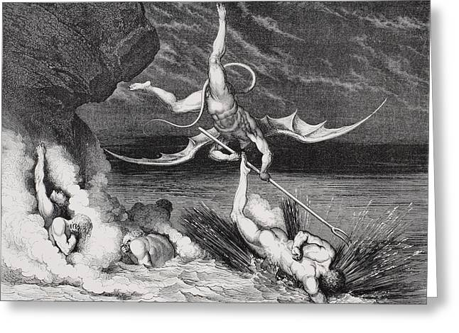 Damnation Greeting Cards - Engraving By Gustave Dore 1832-1883 Greeting Card by Ken Welsh