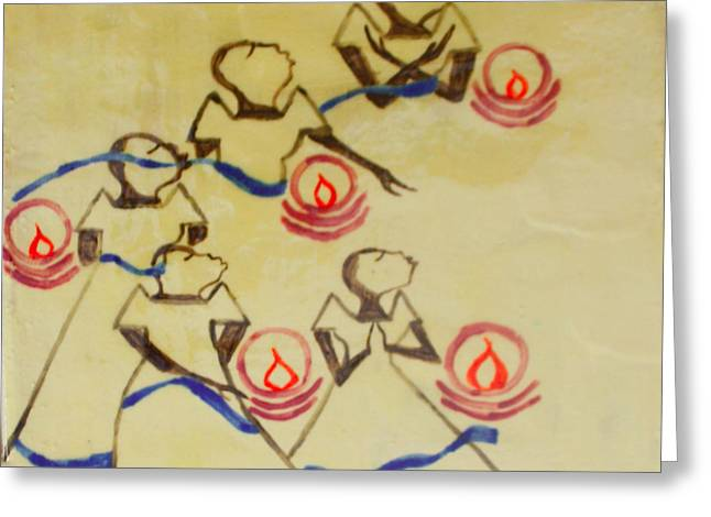 Jesus Ceramics Greeting Cards - Five Wise Virgins Greeting Card by Gloria Ssali
