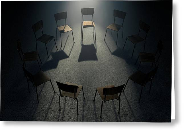 Group Therapy Chairs Greeting Card by Allan Swart