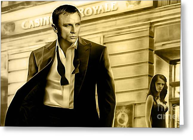 Movie Mixed Media Greeting Cards - James Bond Collection Greeting Card by Marvin Blaine