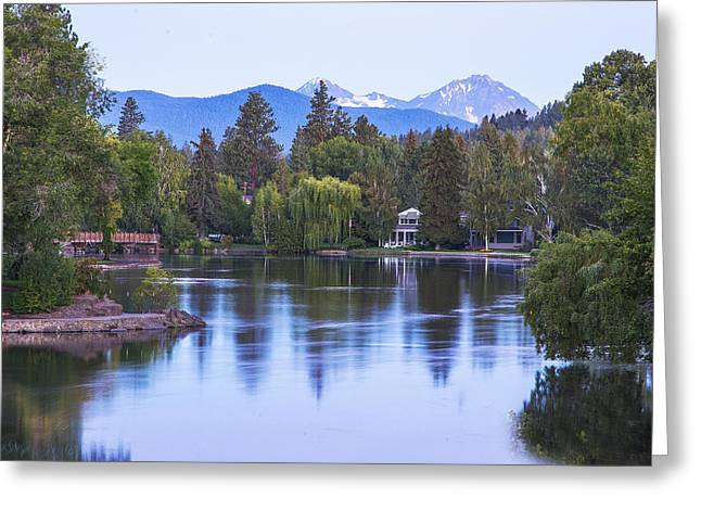 Mirror Pond Greeting Card by Twenty Two North Photography