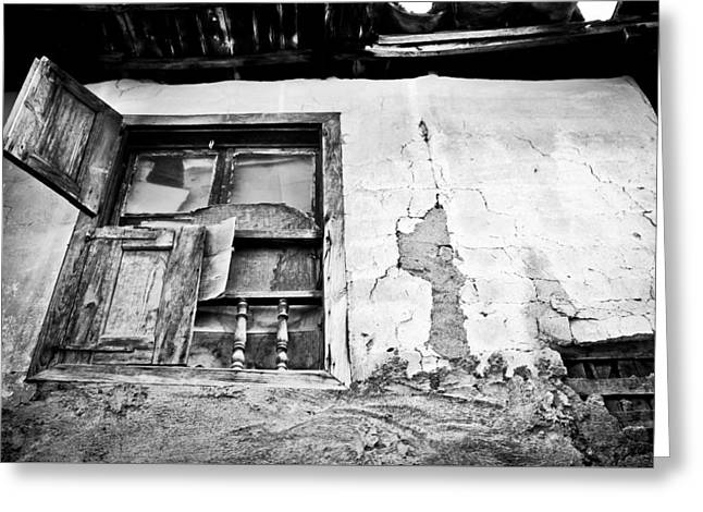 Abandoned House Greeting Cards - Old window Greeting Card by Tom Gowanlock