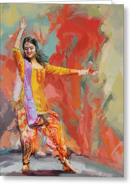 East Asian Culture Greeting Cards - 11 pakistan folk Punjab Greeting Card by Maryam Mughal