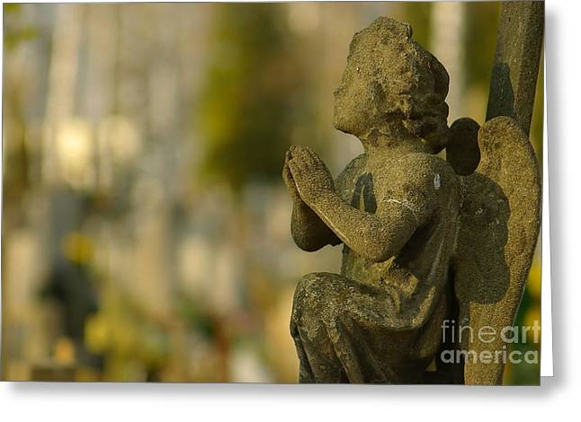 Praying Angel Greeting Card by Dariusz Gudowicz