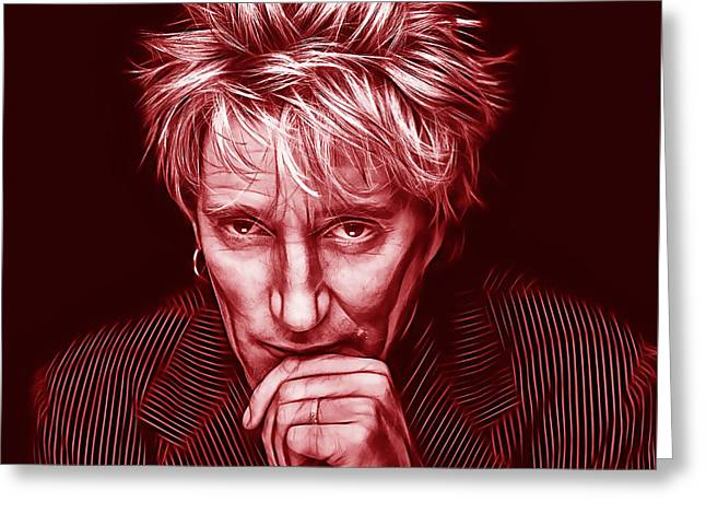 British Celebrities Mixed Media Greeting Cards - Rod Stewart Collection Greeting Card by Marvin Blaine