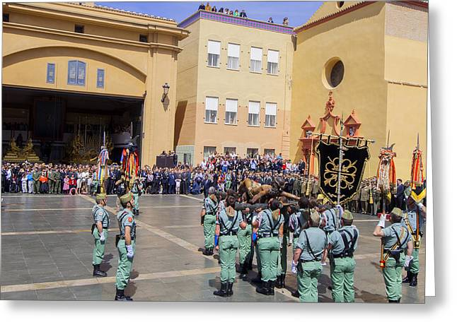 Holy Week Greeting Cards - Spanish Legionarios march in Malaga Spain Greeting Card by Eduardo Huelin