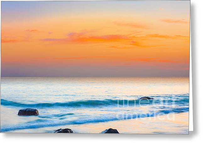 Ocean Panorama Greeting Cards - Sunset panorama Greeting Card by MotHaiBaPhoto Prints