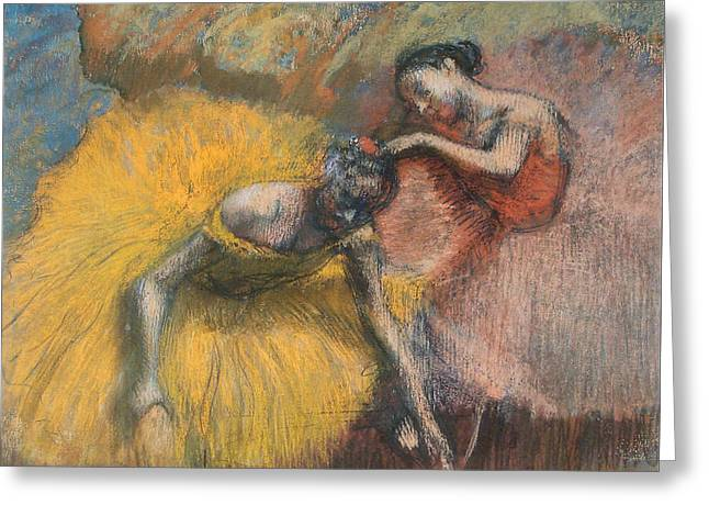 Dancer Pastels Greeting Cards - Two Dancers Greeting Card by Edgar Degas