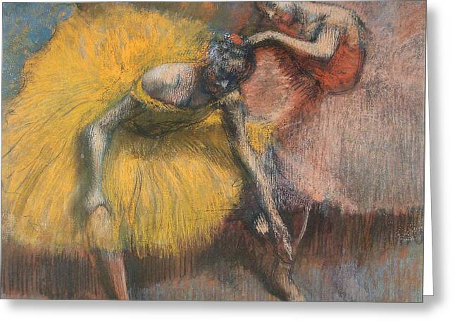 Dance Ballet Roses Greeting Cards - Two Dancers Greeting Card by Edgar Degas