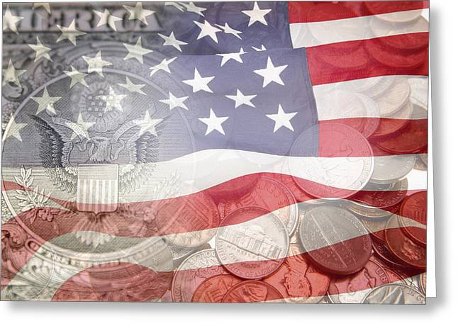 Composite Photo Greeting Cards - USA finance Greeting Card by Les Cunliffe