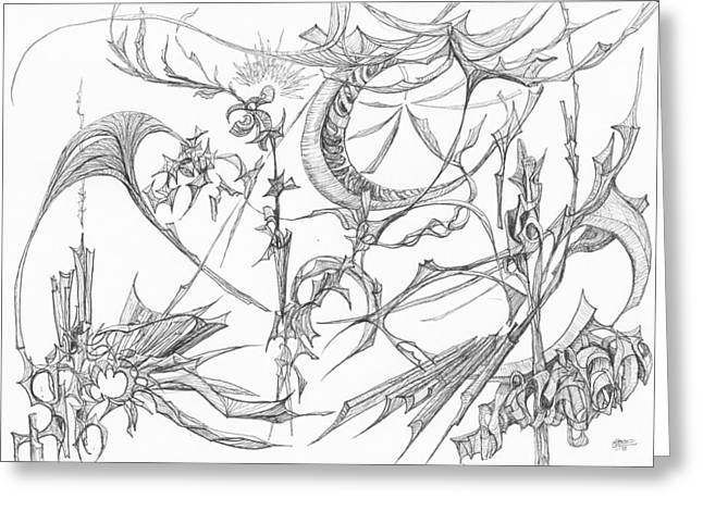 Organic Drawings Greeting Cards - 1110-1 Greeting Card by Charles Cater