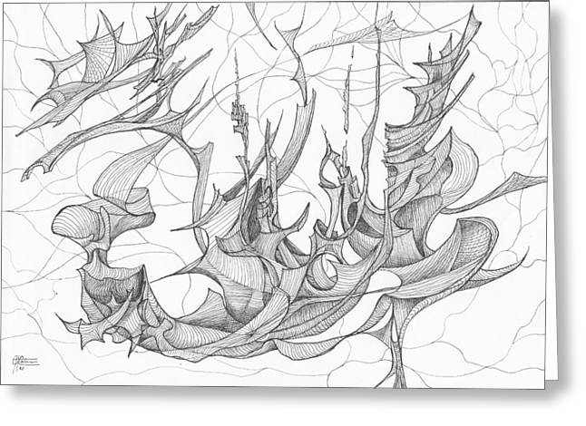 Organic Drawings Greeting Cards - 1110-2 Greeting Card by Charles Cater