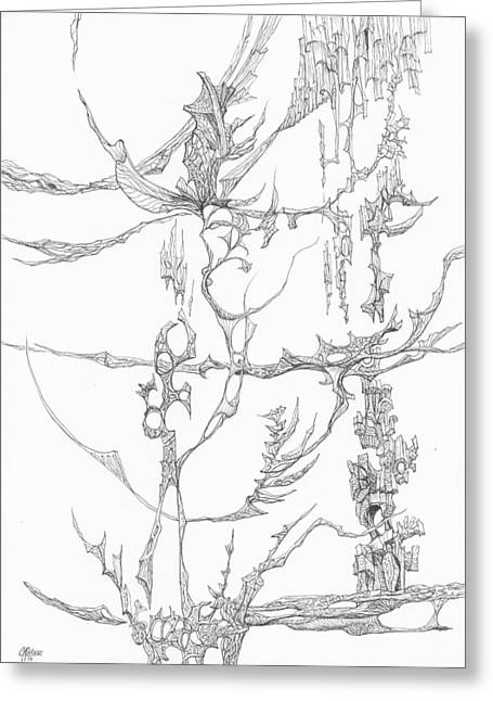 Organic Drawings Greeting Cards - 1110-4 Greeting Card by Charles Cater
