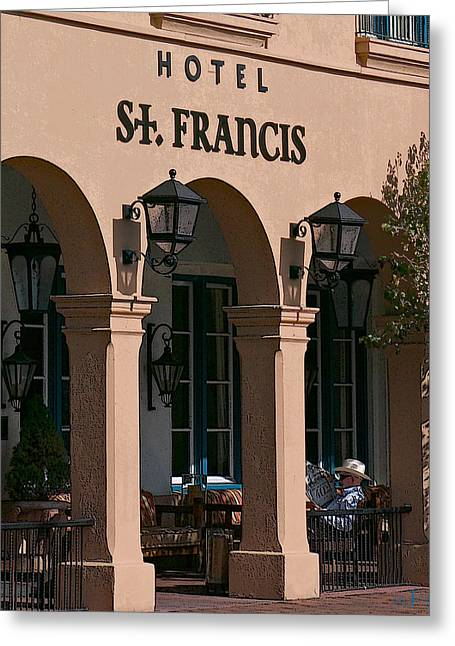 11208 Hotel St Francis Santa Fe Greeting Card by John Prichard