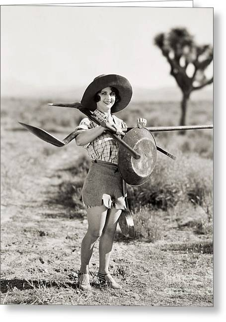 Prospector Greeting Cards - Silent Film Still: Woman Greeting Card by Granger