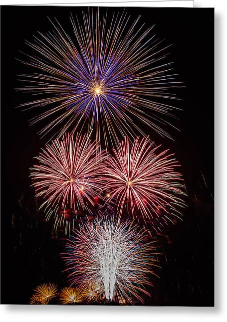4th July Greeting Cards - Fireworks Greeting Card by Buddy Woods