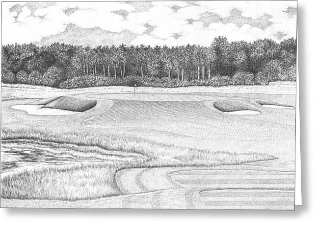 Trump Golf Course Greeting Cards - 11th Hole - Trump National Golf Club Greeting Card by Lawrence Tripoli