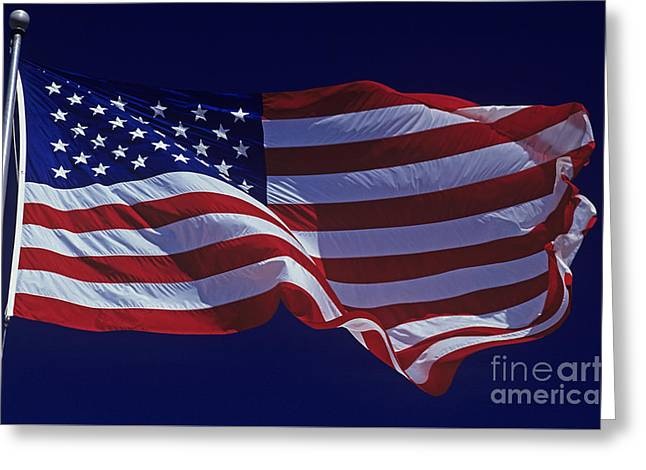 Bravery Greeting Cards - American Flag Greeting Card by Jim Corwin