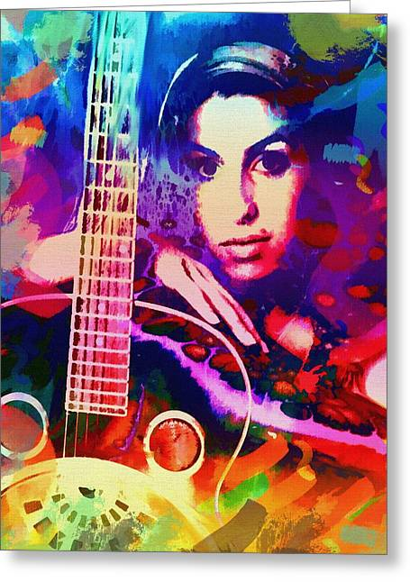 Super Stars Greeting Cards - Amy Winehouse Greeting Card by Bogdan Floridana Oana