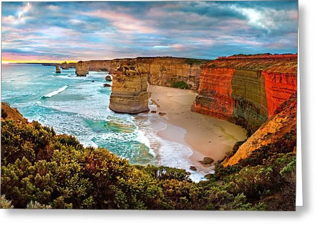 Beach Photograph Greeting Cards - 12 Apostle Sunset Greeting Card by Az Jackson