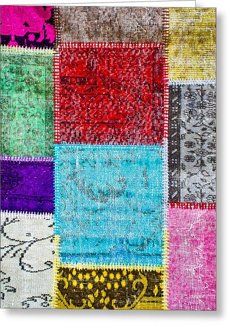 Tapestries Textiles Greeting Cards - Colorful textile Greeting Card by Tom Gowanlock