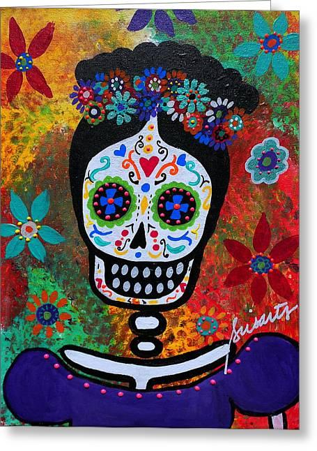 Wedding Couple Day Of The Dead Dia De Los Muertos Anniversary Gift Te Amo Prisarts Pristine Cartera Turkus Bride Flowers Blooms Love Mexican Art Folk Town For Sale Original Greeting Cards - Frida Kahlo Greeting Card by Pristine Cartera Turkus