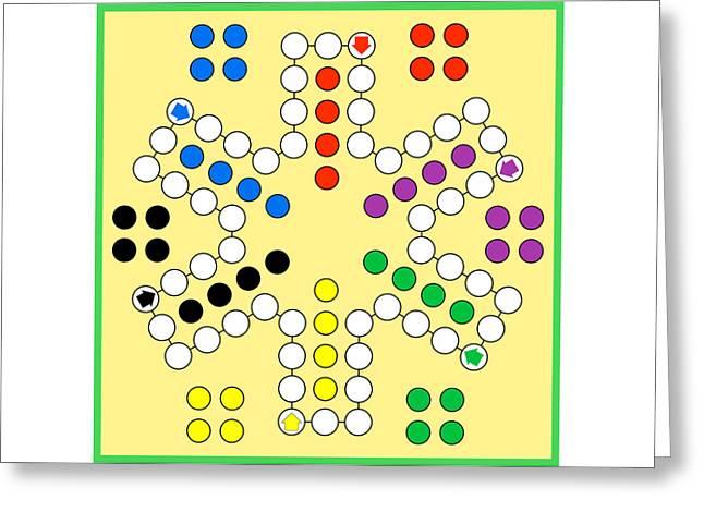 Ludo Board Game Greeting Card by Miroslav Nemecek