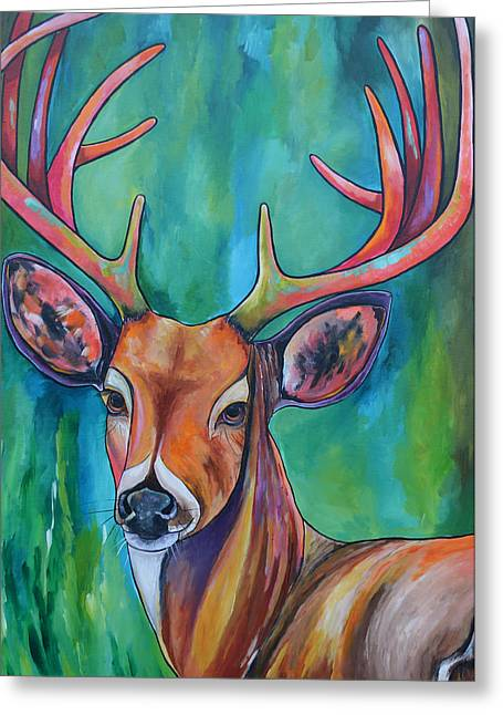 Hunting Cabin Greeting Cards - 12 Points Greeting Card by Patti Schermerhorn