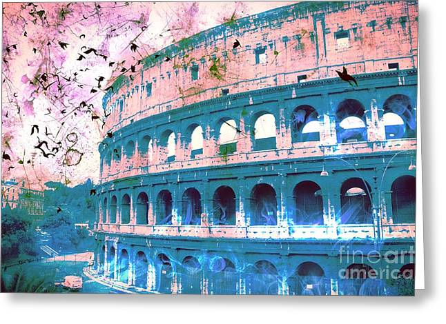 Creepy Digital Greeting Cards - Roman Colosseum Greeting Card by Marina McLain