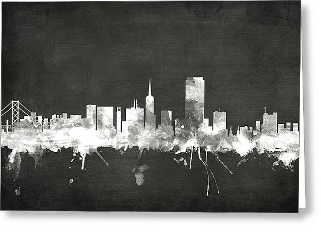 Blackboard Greeting Cards - San Francisco City Skyline Greeting Card by Michael Tompsett