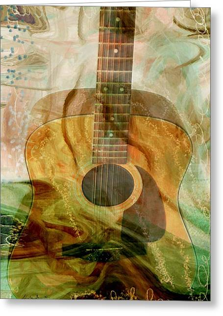 Guitar Strings Greeting Cards - 12 String Greeting Card by Linda Sannuti