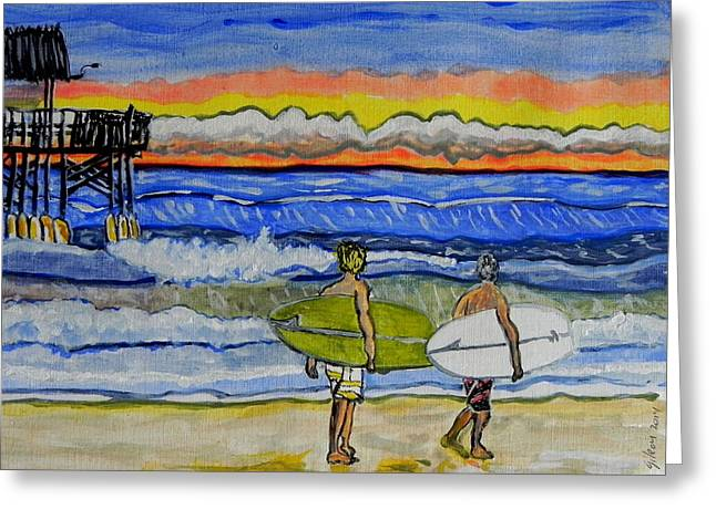 Surfing Art Print Paintings Greeting Cards - Surfart Greeting Card by W Gilroy