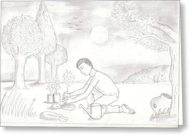 Save Our Planet Drawings Greeting Cards - 12 Greeting Card by Tushar Vaghela