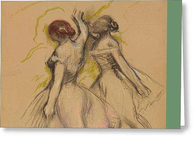 Print Pastels Greeting Cards - Two Dancers Greeting Card by Edgar Degas