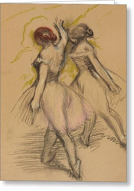 Charcoal Pastels Greeting Cards - Two Dancers Greeting Card by Edgar Degas