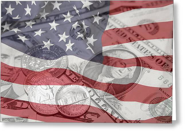 Usa Finance Greeting Card by Les Cunliffe
