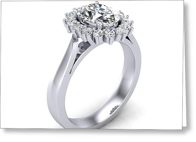 Diamond Pastels Greeting Cards - 1.22 Carat TDW AGI Certified Designer Oval Halo Diamond Engagement Ring Greeting Card by Daniela Ursachi