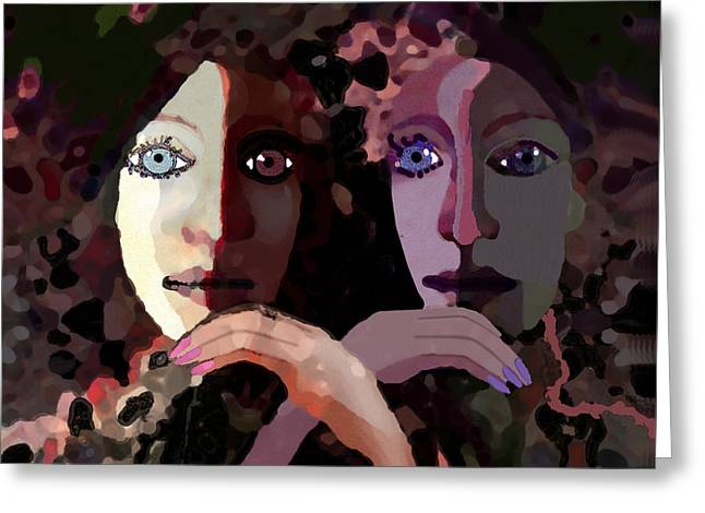 Pensive Digital Greeting Cards - 1258 - Pensive  Ladies ... Greeting Card by Irmgard Schoendorf Welch