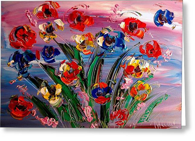 Recently Sold -  - Abstract Digital Paintings Greeting Cards - Flowers Greeting Card by Mark Kazav