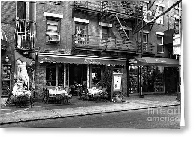Italian Restaurant Photographs Greeting Cards - 129 Mulberry Street mono Greeting Card by John Rizzuto