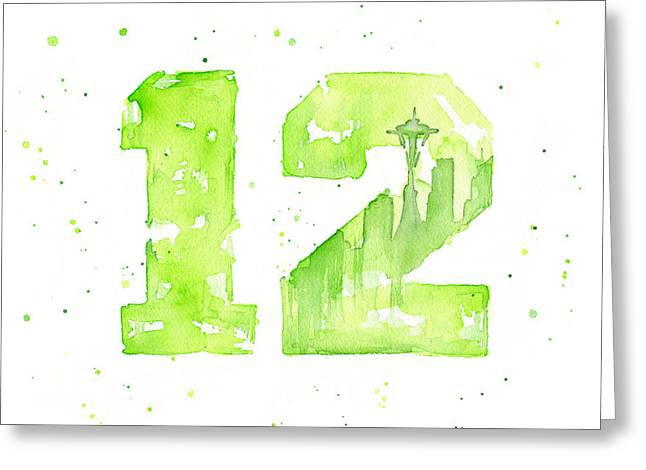 Space Needle Greeting Cards - 12th Man Seahawks Art GO HAWKS Greeting Card by Olga Shvartsur