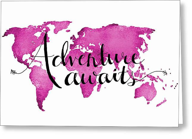 World Greeting Cards - 12x16 Adventure Awaits pink Map Greeting Card by Michelle Eshleman