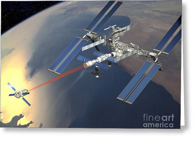 Automated Greeting Cards - Atv Approaching The Iss, Artwork Greeting Card by David Ducros