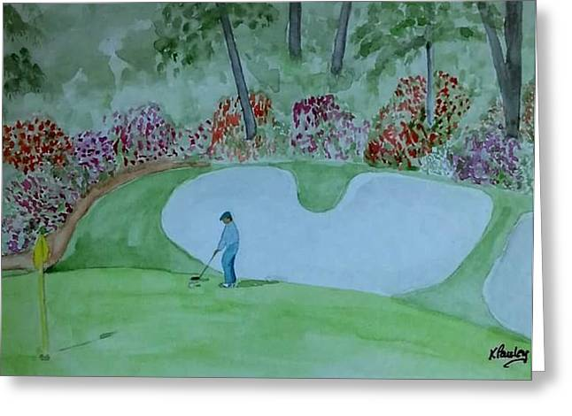 Hole 13 Greeting Cards - #13 Augusta National  Greeting Card by Kathie Sullivan Pauley