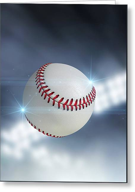 Baseball Game Digital Greeting Cards - Ball Flying Through The Air Greeting Card by Allan Swart