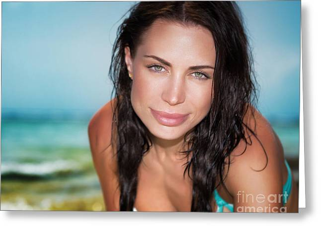Female Body Greeting Cards - Beautiful woman on the beach Greeting Card by Anna Omelchenko